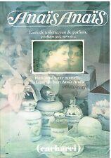 """Publicité Advertising 1979 Parfum Eau de Toilette """"Anais anais"""" Cacharel"""