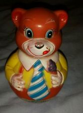 Vintage Kiddie Products Inc. Japan Musical Roly Poly Celluloid Teddy Bear #931