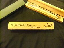 Personalizzati Penna a Sfera in Legno & SCATOLA IN LEGNO-regalo amante dei gatti-progettata a mano