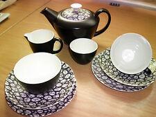 """Poole Pottery Black Pebble """"Tea for Two"""" Teaset"""