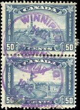 1930 Used Canada PAIR 50c F Scott #176 King George V Arch/Leaf Stamps