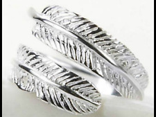 925 silver feather memory love chunky adjustable ring jewellery present gift