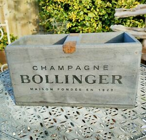Bollinger Champagne Vintage Style Wooden Box With Centre Bar  30cm L - New