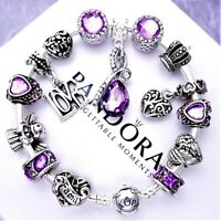 Authentic Pandora Bracelet Silver with WIFE FAMILY ANGEL MOM European Charms