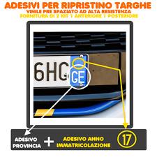 2 COPPIE ADESIVI (2ANT/2POST) TARGA AUTO PROVINCIA + ANNO RIPRISTINO TARGHE TOP