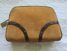 Makeup,cosmetic bag,case, Gold corduroy exterior with tooled faux leather trim