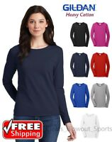 Gildan Heavy Cotton Long Sleeve T Shirt Ladies Blank Casual Plain Sport 5400L