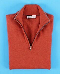 BRUNELLO CUCINELLI 100% CASHMERE 1/2 Zip Sweater - Orange - 50 M