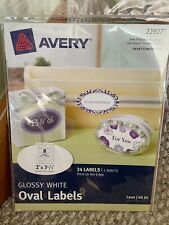 Avery 22927 Glossy White Oval Labels 2 X 3 13 24 Labels Laserinkjet
