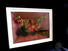 "Shadowbox Framed Antique Velvet & Glass Floral Decorative 13"" x 10"" x 4"""