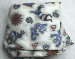 "Native American Indian Kokopelli Turtle Fleece Fabric 64"" wide 3+ Yards Long b1"