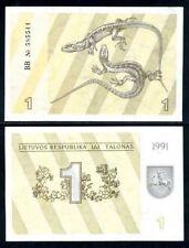 LITHUANIA 1 TALONAS 1991 P 32 lizard UNC