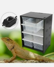 Black Reptile Breeding Tank Cabinet With Hygrometer Turtle Cage Pet Feeding Box