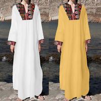 Plus Size Women Floral Maxi Kaftan Ladies Long Sleeve Casual Holiday Shift Dress