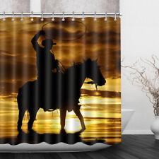 Western Cowboys Sunset Horse Fabric Shower Curtain Hooks Set Bathroom Waterproof