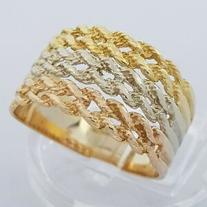 18ct Yellow White Rose Gold Tri Colour Braided Weave Ring Size O Hallmarked