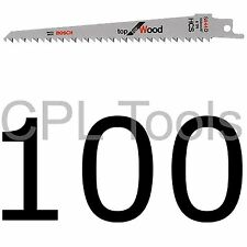 """100 Bosch S644D Reciprocating Sabre Saw Blades 6"""" 150mm for WOOD HCS Extra Sharp"""