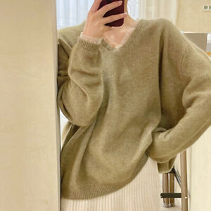 New Womens V-neck Retro Korean Loose Fit Pullover Tops Japanese Style Sweaters