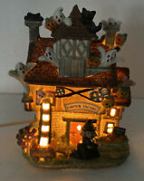 Vintage Halloween Ceramic Haunted House Ghost Light Pumpkin Factory Village