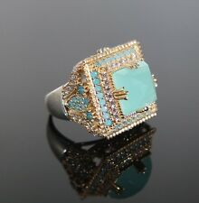925 Sterling Silver Handmade Gemstone Turkish Turquoise Ladies Ring Size 6-9