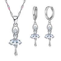 925er Silber Plattierte Ohrringe und Collier Set Zirkonia Ballerina Halskette