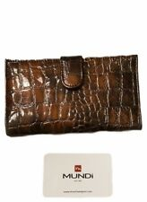 Mundi Wallet Snakeskin Style Brown Snap Closure