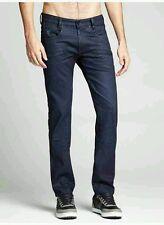 $128 Guess Alameda Slim Tapered Moto Jeans In Hail Wash Indigo Size 28