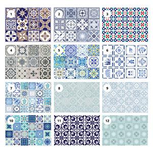 24pcs Blue Vintage Victorian Moroccan Retro Mosaic Tile Sticker Bathroom Kitchen
