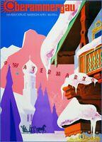 Bavarian Alps 1965 Germany Vintage Poster Print Wall Art Decor Winter Snow