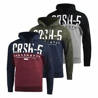 Mens Hoodie Crosshatch  Conflact Sweatshirt  Hooded Jumper Top Pullover