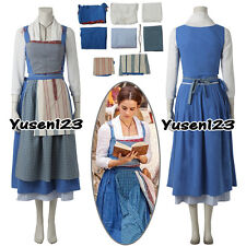 2017 Movie Beauty and the Beast Belle Maid Cosplay Dress Emma Watson Full Outfit