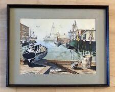 "Watercolor Painting Fishing Boats Harbor Dock 16 X 12"" Framed Original Art"