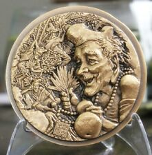 China 80mm Brass Medal - The Mad Monk - Chi Kung Buddha - Jigong - Cricket Fight