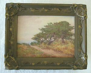 California Impressionist Watercolor, Trees & Ocean  /  signed  /  c. 1910-20