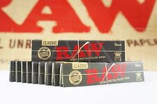 10 PACKS OF AUTHENTIC RAW BLACK DOUBLE PRESSED ROLLING PAPER KING SIZE NATURAL