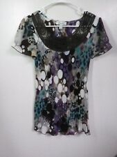 DRESSBARN LADIES SMALL  ACCORDIAN  DRESS BLOUSE LACE MULTI COLOR SHORT SLEEVE