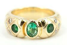 0,89ct Diamant Smaragd Goldring 750 18K  6 Brillanten VS H 3 Smaragde Gr 54