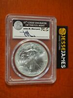 2017 SILVER EAGLE PCGS MS70 FIRST STRIKE JOHN MERCANTI HAND SIGNED BLACK LABEL
