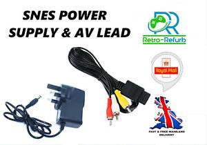 Super Nintendo SNES Power Supply UK Plug + AV Lead Bundle TV Cable & AC Adapter