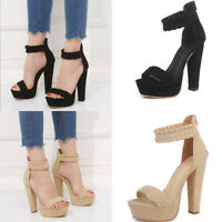 Women Ankle Strap Platform High Heel Sandals Casual Knit Weave Peep Toe Shoes