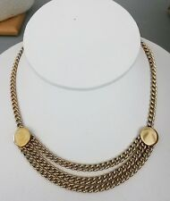 Vintage Multi Chain Gold Tone Drape Choker Necklace w/ Fold-over Clasp 1950s