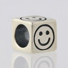 Smiley Face Block Bead Charm - Sterling Silver 925 Happy Symbol Jewelry Making