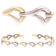 """14k Two Tone Gold Fancy Link Bracelet 7"""" 9mm - 13.4 grams"""