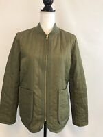 NEW J CREW QUILTED JACKET SZ SMALL OLIVE GREEN