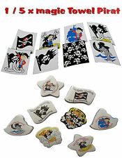 😊 1 / 5 x magic Towel Zauberhandtuch magische Handtuch  Pirat 30x30cm Mitgebsel