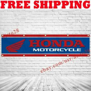 Honda Motorcycle Logo Banner Flag 2x8 ft Show Garage Wall Decor Sign 2021 NEW