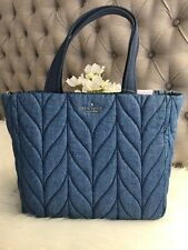New Kate Spade Ellie Denim Small Tote Blue Beautiful Unique gift
