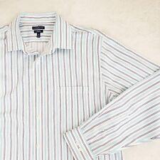 Croft Barrow Mens Woven Striped Dress Shirt Casual NO IRON White 17 1/2 37 XL