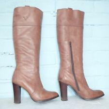 Dune Brown Leather Boots Size Uk 7 Eur 40 Sexy Womens Ladies Pull on Boots