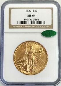 1927 GOLD $20 SAINT GAUDENS DOUBLE EAGLE COIN NGC MINT STATE 64 CAC STICKER